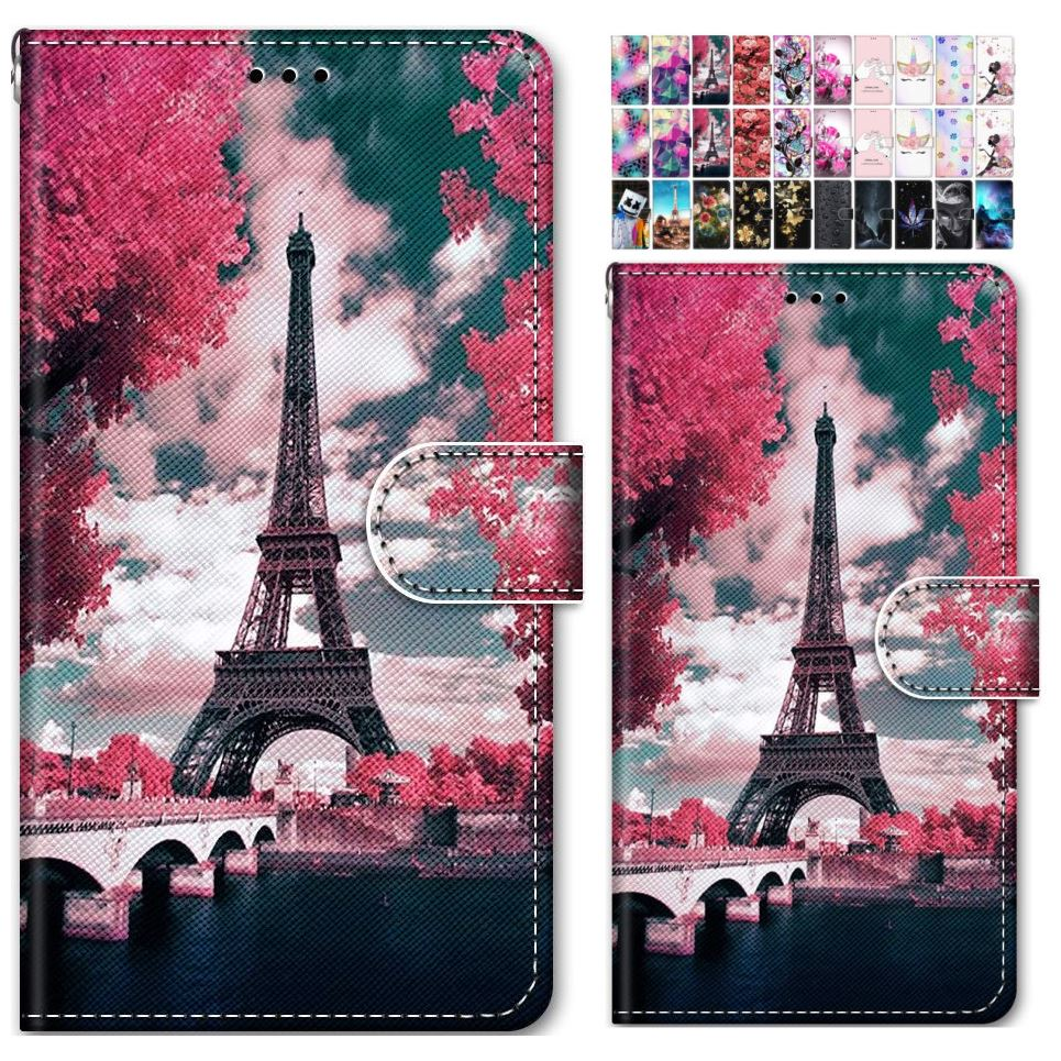 Cute Painted Flip <font><b>Phone</b></font> Bags For <font><b>Case</b></font> <font><b>Sony</b></font> <font><b>Xperia</b></font> 10 L2 <font><b>L3</b></font> X XA XA1 XA2 Plus Rose Flip Capa Tower Mountain Sky Book Cover O08F image