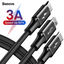Baseus 3 in 1 USB Cable For iPhone Samsung Xiaomi Multi Fast Charge Charger Micr