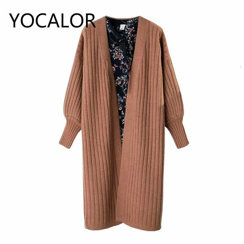 Length Cardigan Lantern Sleeve Knitting Sweater Women Loose Coat Befree Harajuku Manteau Femme Hiver Truien Dames Sweaters