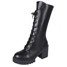 2019 New Autumn Winter Mid-calf Women Boots Flats Heels Warm Plush PU Leather Boots High Quality Platform Boots asumer new arrive youth fashion height increasing mid calf boots for women high quality pu soft leather winter warm snow boots