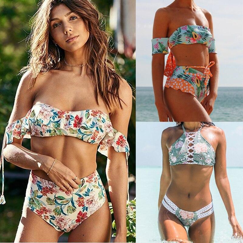 Miyouj Off Shoulder Bikini Floral Ruffle Bandeau Swimsuit Women High Waist Swimwear String Bathing Suit Biquin Print Bikini Set