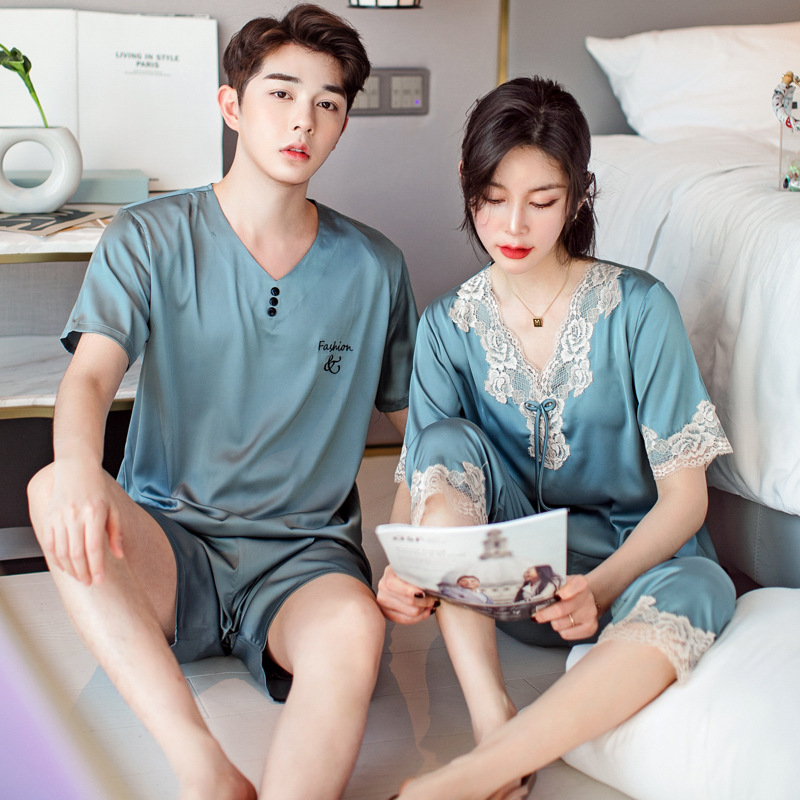 Silk Pajama Sets Sleepwear Suits Short Couples Pyjamas Male Satin Men's Pajamas Casual Sleepwear Men's Summer XXXL