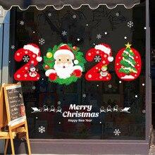 Год мультяшный Снеговик Санта Наклейка на окно Рождество Домашний Декор подарки прозрачная стеклянная наклейка Рождественская наклейка на окно s