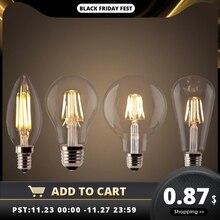 LED 필 라 멘 트 전구 E27 레트로 에디슨 램프 220V E14 빈티지 C35 촛불 조명 Dimmable G95 글로브 앰플 조명 COB 홈 장식