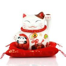 Счастливая кошка Средний керамический Декор Копилка открытая