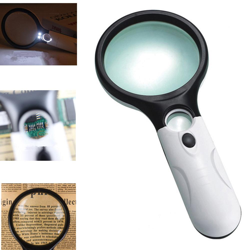 MeterMall Portable 45X Double Lens Lighted Magnifying Glass Handheld Reading Magnifying Glass Loupe With 3 LED White Light