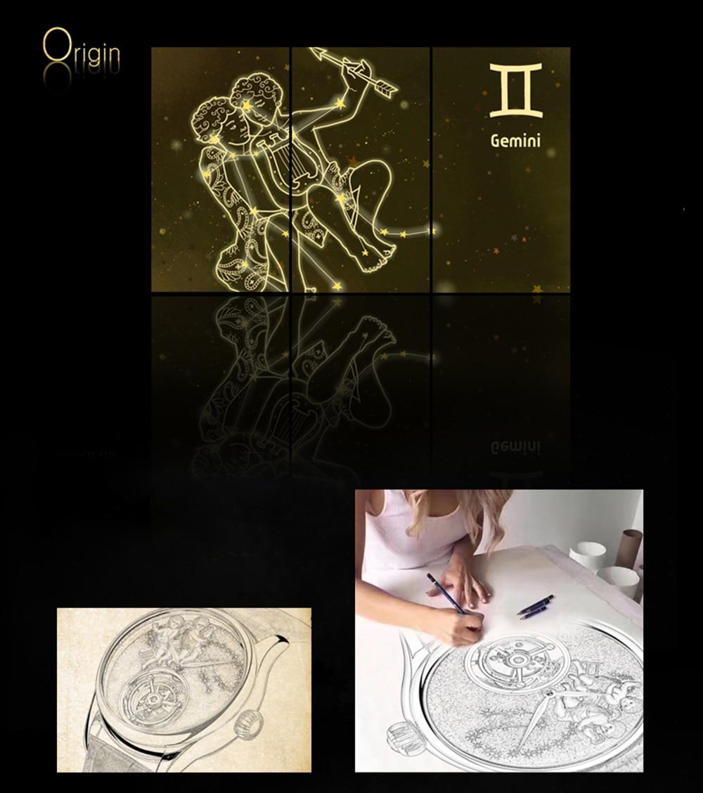GUANQIN 2019 Real Tourbillon Mechanical Hand Wind Mens Watches Top Brand Luxury Gemini Clock men Gold Sapphire Relogio Masculino 6
