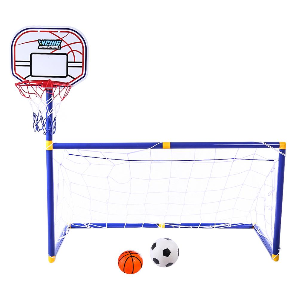 2 In 1  Portable Folding Children Football Net Door Sports Toys Set Football Gate With Basketball Hoop Set