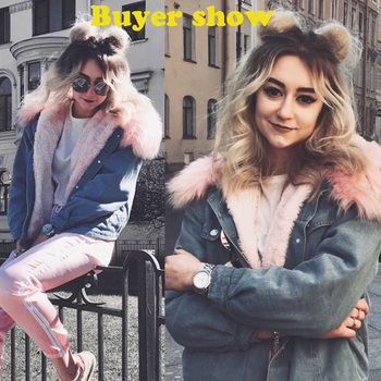 2019 New Warm Winter Bomber Women Winter Autumn Hooded Girls Coat Jeans Denim Jackets Basic Ladies Top Windbreaker Female Large 1