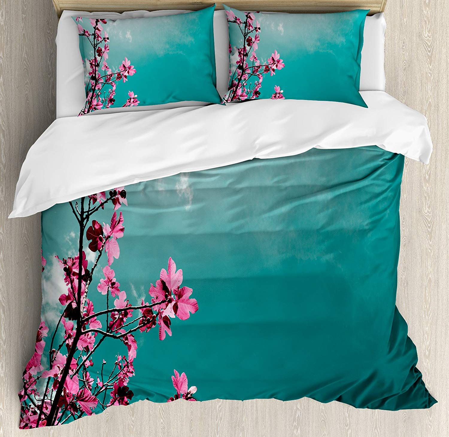 Floral Duvet Cover Set Fig Tree Florets with Sunny Sky Exotic Summer Spring Plants Scenic Nature View Decorative 3 Piece Bedding|Duvet Cover| |  - title=