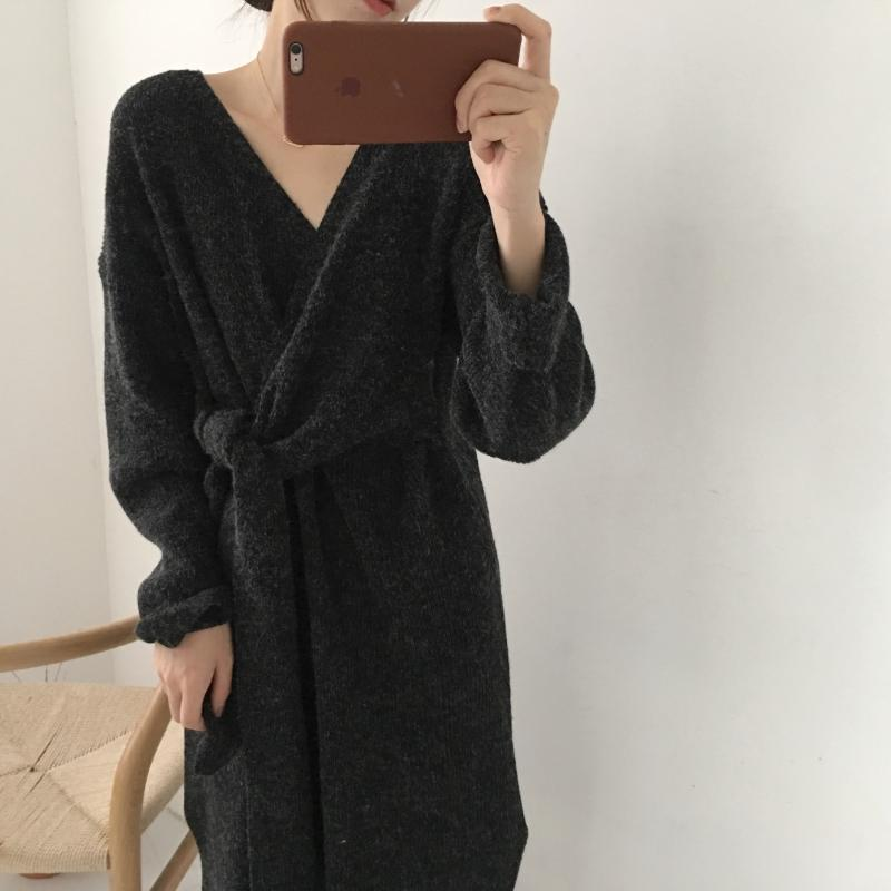 H2c6c6830169544079e54e3b41d5a63edO - Winter Korean V-Neck Long Sleeves Knitted Dress
