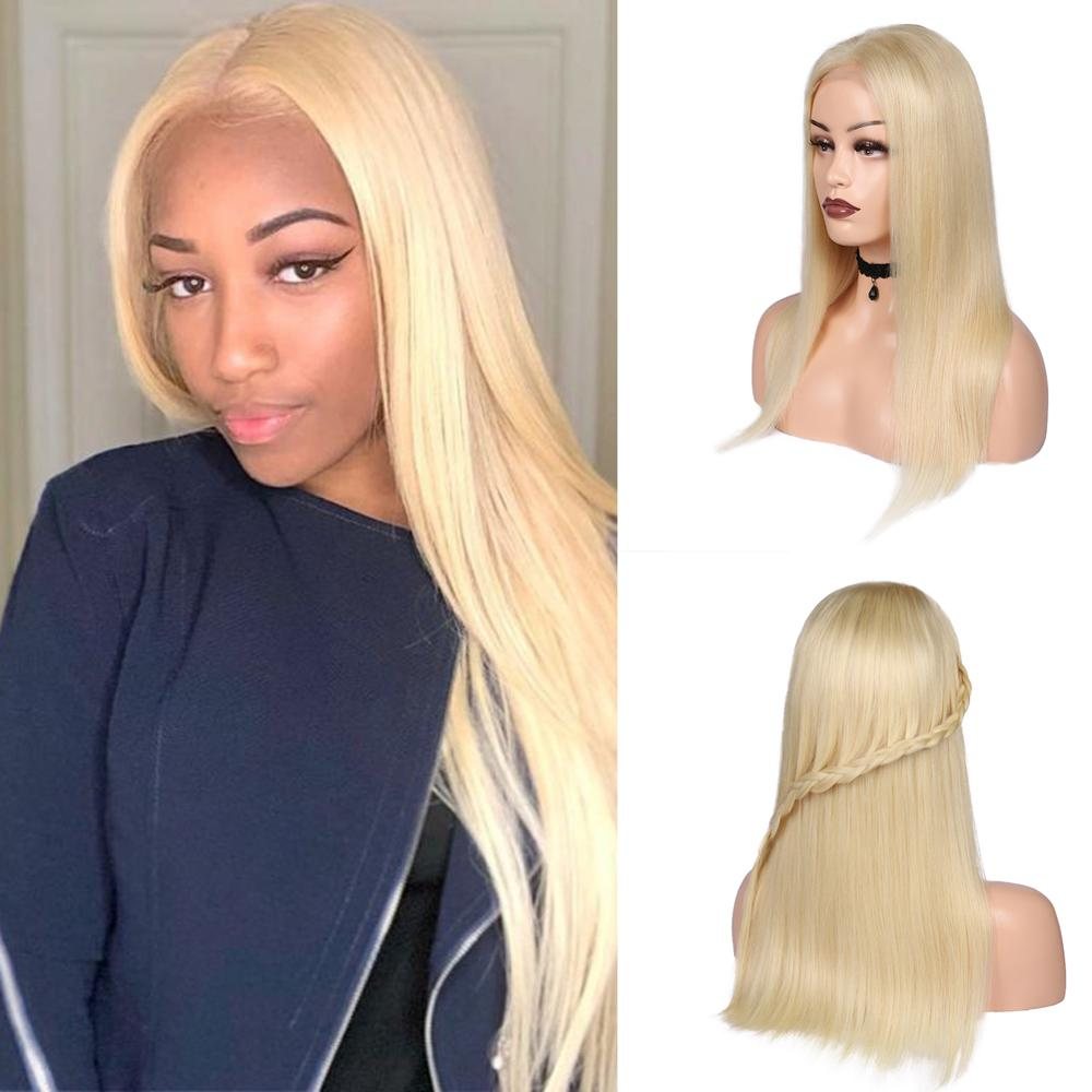 Wignee 613# Blonde Straight Hair 4*4 Lace Closure Human Wigs For Women 150% High Density Glueless Lace Front Remy Human Hair Wig
