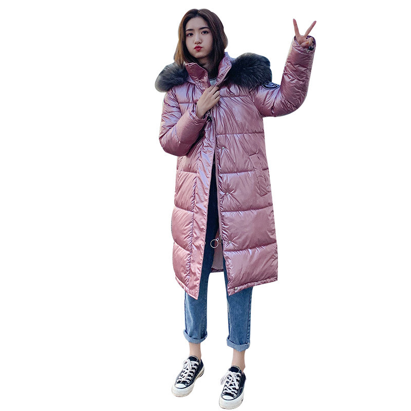 Hot sale European Winter Down   parka   Female 2019 New Bright Knee Clothes Medium and Long Thickened Cotton Coat