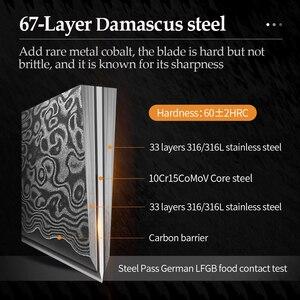 Image 3 - XINZUO 5 Pcs Kitchen Knife Set 67 layers Japanese Damascus Stainless Steel Santoku Cleaver Chef Paring Knives Pakkawood Handle
