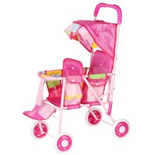 Simulação boneca duplo assento trolley meninas brinquedo crianças dobrável mão empurrar carrinho de bebê boneca fingir jogar boneca acessórios 3699