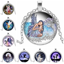 2019 New Hot Sale Angel Wings Fairy Round Glass Image Pendant Necklace Handmade Art Making Gift Chain Sweater
