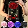 Вечная роза, Красавица и чудовище, роза, вечный искусственный цветок, светильник в стеклянном куполе для Дня Святого Валентина, матери, свад...