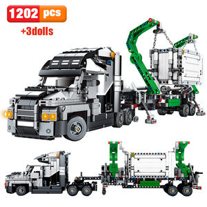Promotion 1202pcs City Big Truck Engineering Buiding Blocks Technic Mark Container Vehicles Car Figures Bricks Toys For Children