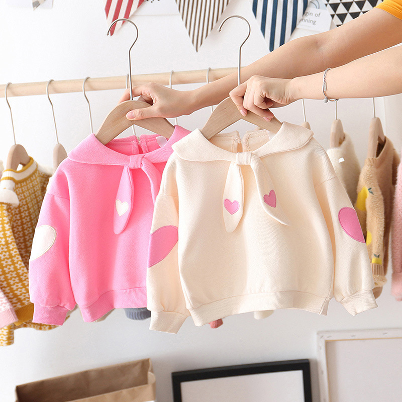 Baby Girl New Clothes  Spring Autumn Children Sweet Love Cute Cotton Baby Girl T-shirt Long Sleeve Polka Tops T-shirts Kids