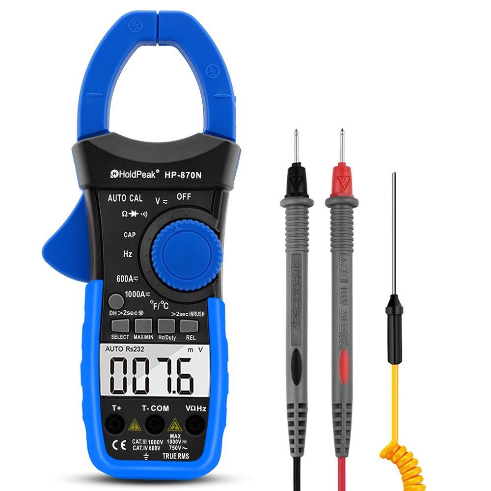 HoldPeak HP-870N Auto Range Multimetro Digital Clamp Meter Multimeter Pinza Piers Ammeter Amperimetro True RMS Frequency Tester