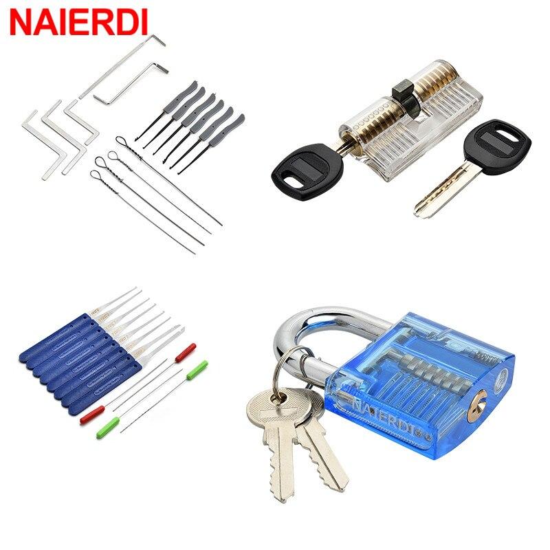 NAIERDI Locksmith Hand Tools with Practice Padlock Pick Set Tension Wrench Broken Key Removal Tool Combination Lock Hardware