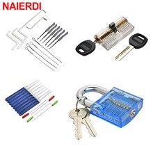 Набор слесарных инструментов NAIERDI, ручной инструмент для тренировок с навесным замком, Натяжной ключ, инструмент для удаления сломанного кл...