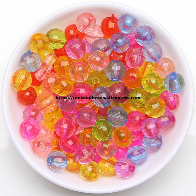 100pcs 10mm Transparent Acrylic Beads Round Colorful Frosted Matte Loose Spacers