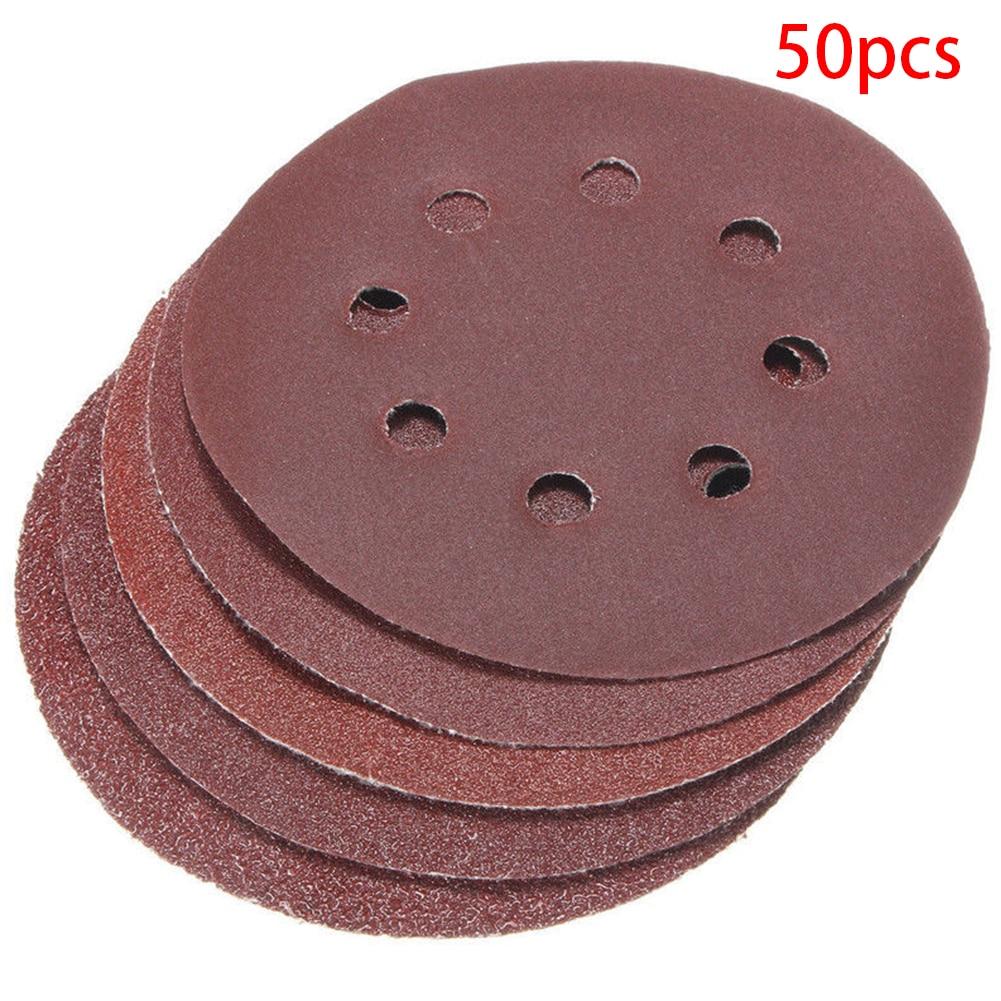 50pcs Grinding 40 60 80 120 240 Grit Cleaning Multi Function Abrasive Tools 125mm 8 Hole Polishing Hook Loop Sanding Disc Set