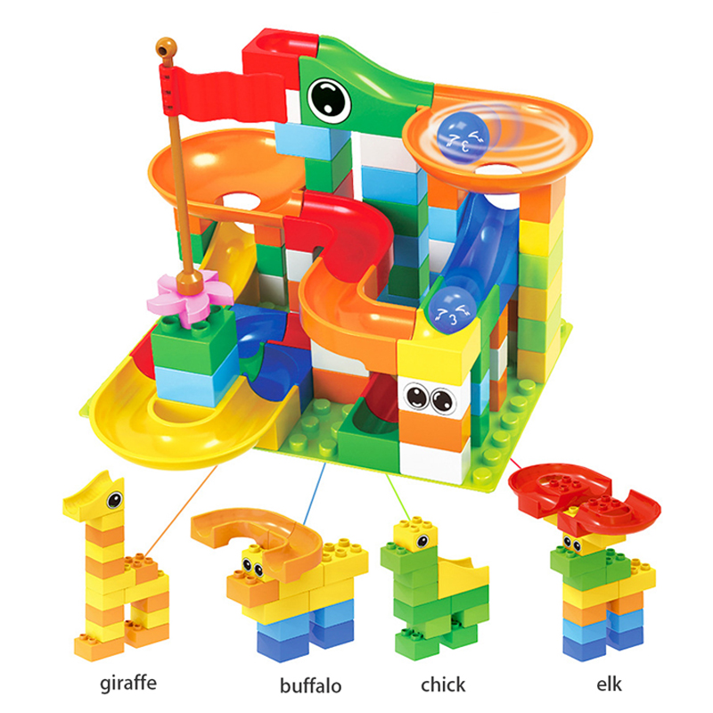 Image 2 - 52 156 pieces educational toys for children Marble construction race maze balls track building blocks large particle assembly bl-in Interconnecting Blocks from Toys & Hobbies