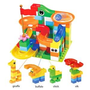 Image 2 - Marble Race Big Block Compatible Duploed Building Blocks Funnel Slide Blocks DIY Big Bricks Toys For Children Gift