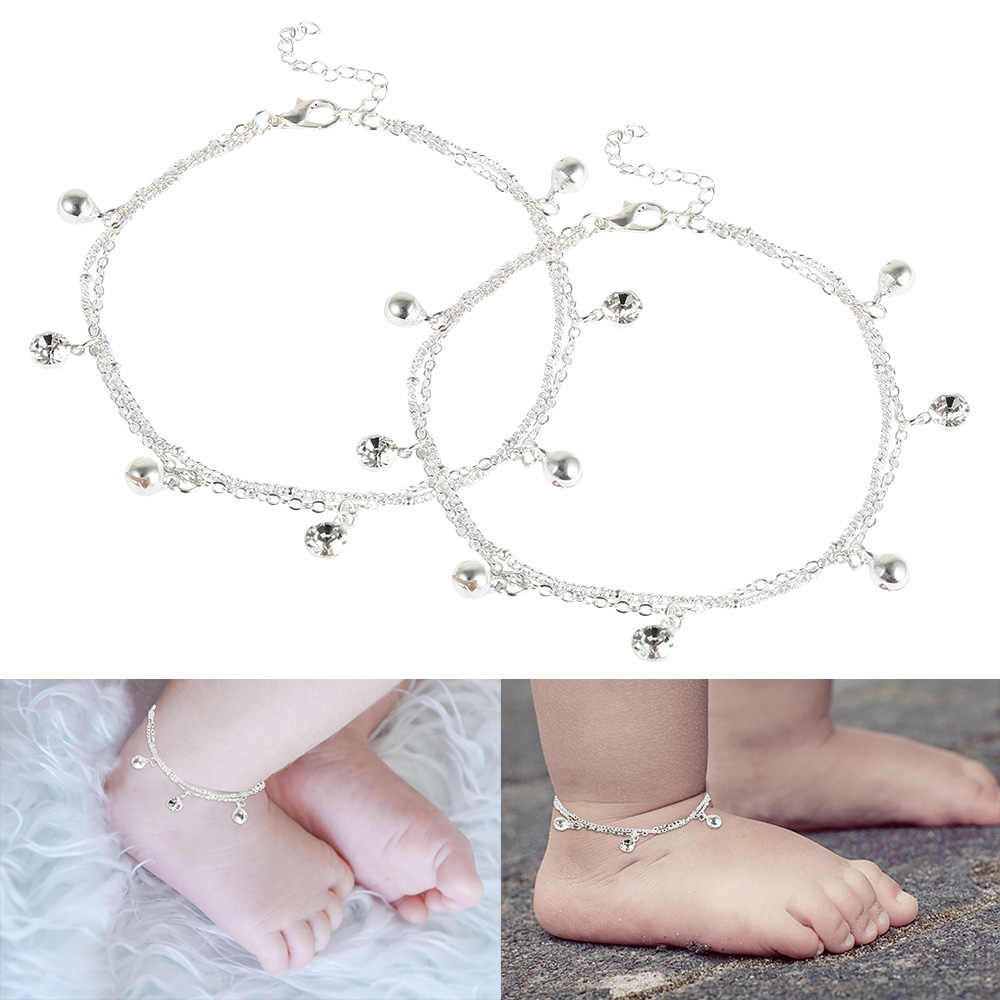 Baby Ankle Bracelet Birthday Bell And White Stone Charm Foot Bracelet Anklets Metal Leg Bracelet For Baby Bracelet Gift