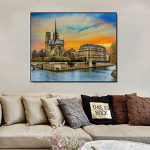 Laeacco Cityscape of Seine Posters and Prints Canvas Painting Calligraphy Cathedral Notre Dame de Paris Wall Art Living Room