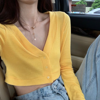 2019 Autumn & Winter New Arrival Slim Slimming T Shirt Sexy V neck Short Design Long Sleeve Short T Shirt Free Shipping