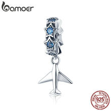 Bamoer 100% 925 Sterling Silver Fashion Perjalanan Pesawat Stackable Biru Menyilaukan CZ Charms Fit Gelang DIY Perhiasan SCC882(China)