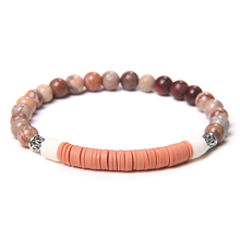 6mm Round Natural Stone Slice Shaped Soft Polymer Clay Various Colors Bracelet Bohemia Style For Women Men Creative Unique Gift