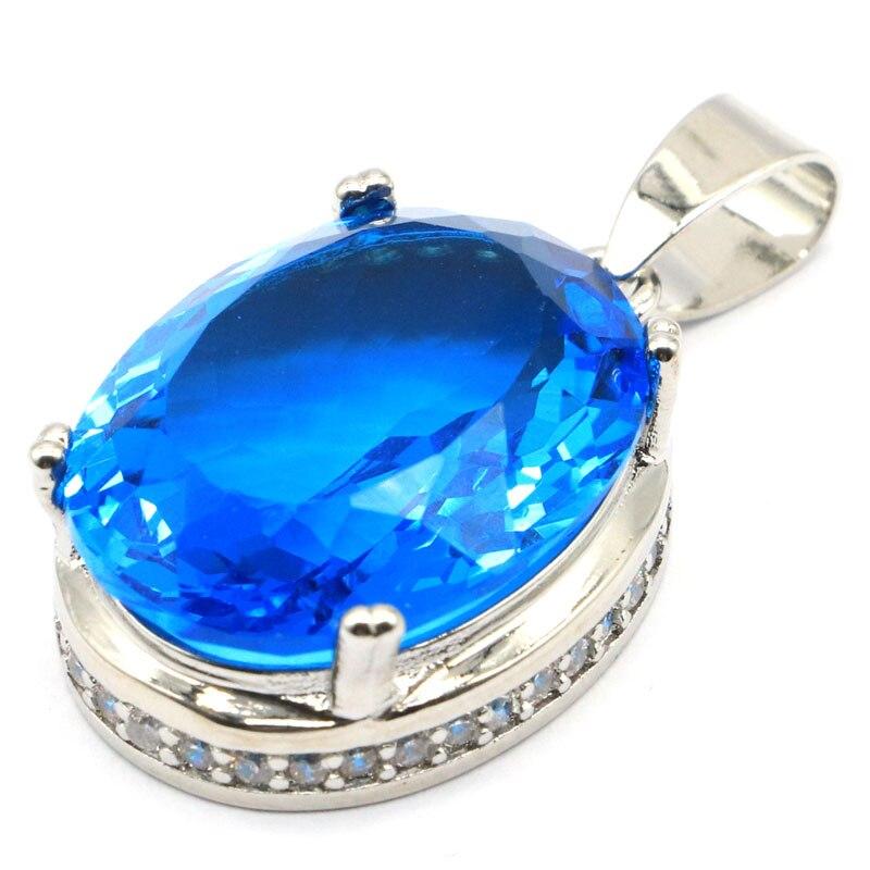 32x17mm  Charming Big Oval Gemstone Paris Blue Topaz Ladies Wedding Silver Pendant