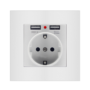 Image 3 - איחוד אירופי תקע USB הכפול טעינת יציאת 5V 2.1A LED מחוון 16A קיר שקע חשמל שקע שקע מחשב לוח מעוגן להבת מעכב 86mm