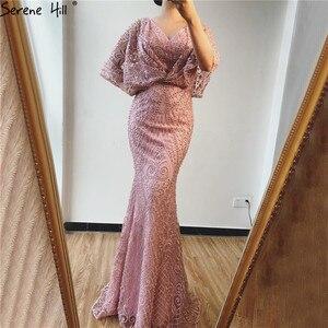 Image 2 - Dubai rosa com decote em v pérolas rendas vestidos de baile 2020 meia mangas sereia sexy elegante formal vestidos de baile bla70156
