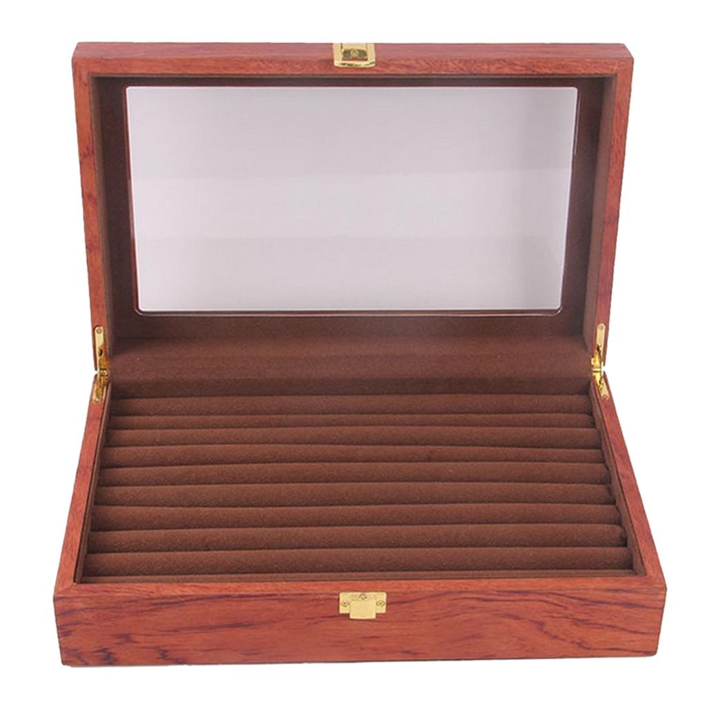 Glass Lid Rosewood Ring Tray Jewellery Display Storage Box Jewelry Holder Storage Organizer Stand 9 Slots