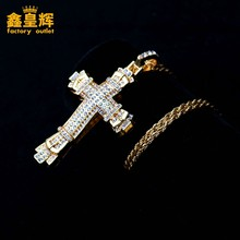 Luxury diamond inlaid cross Cuban pendant golden hip hop style Titanium Jesus Necklace Fashion punk jewelry for men and women(China)