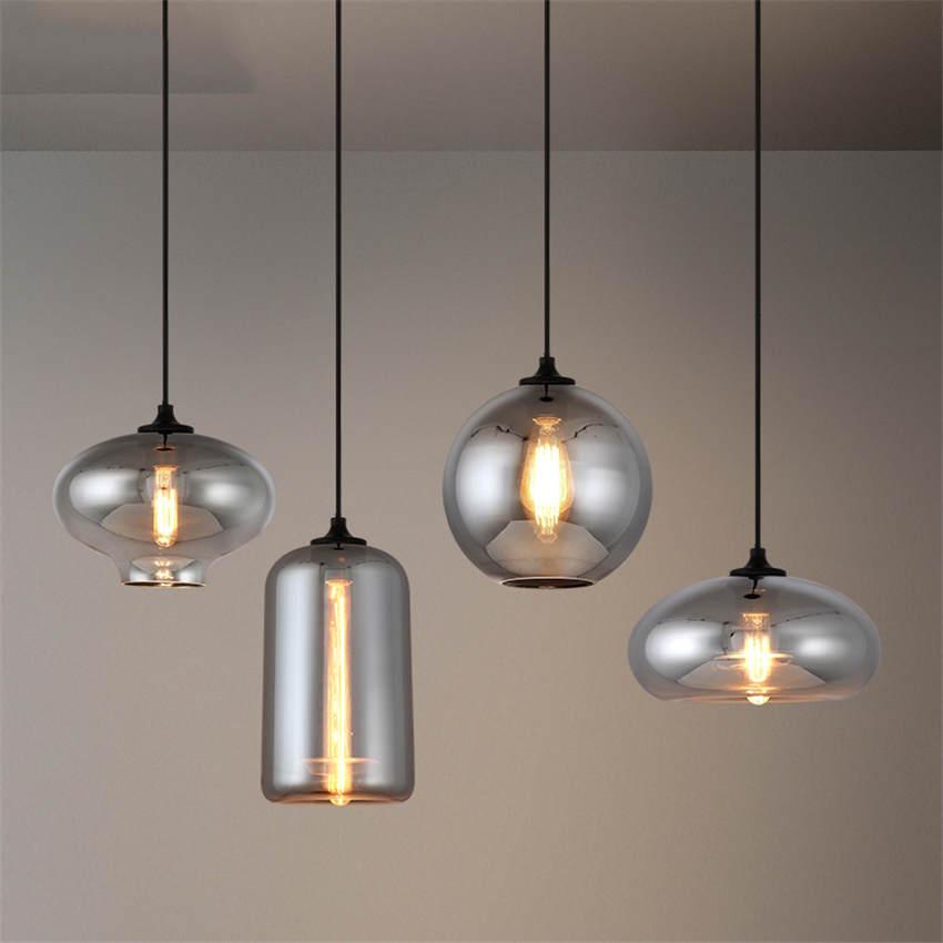 Postmodern Onion Shape Smoke Gray Glass Pendant Lights For Dining Room Cafe Russian Bar Fashion Hanging Lamp Led Light Fixtures