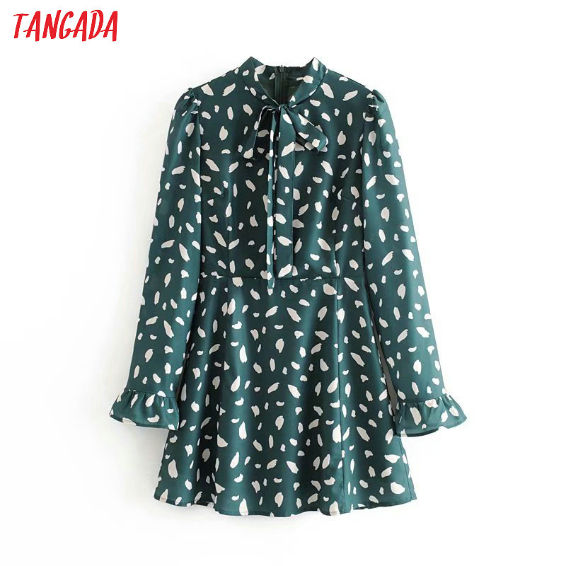 Tangada Spring Women Green Print Dress Sweet Bow Neck Collar Ruffles Long Sleeve Zipper Ladies A Line Mini Dress Vestidos 3D12