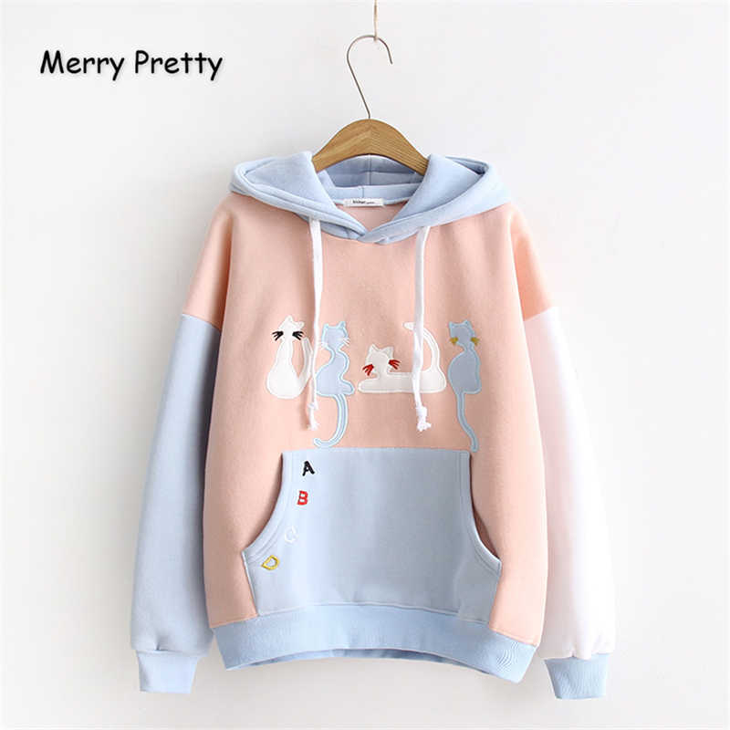 Frohe Ziemlich Frauen Mit Kapuze Sweatshirt Winter Cartoon Katze Stickerei Hoodies Casual Langarm Pullover Hoodies Trainingsanzug Weibliche