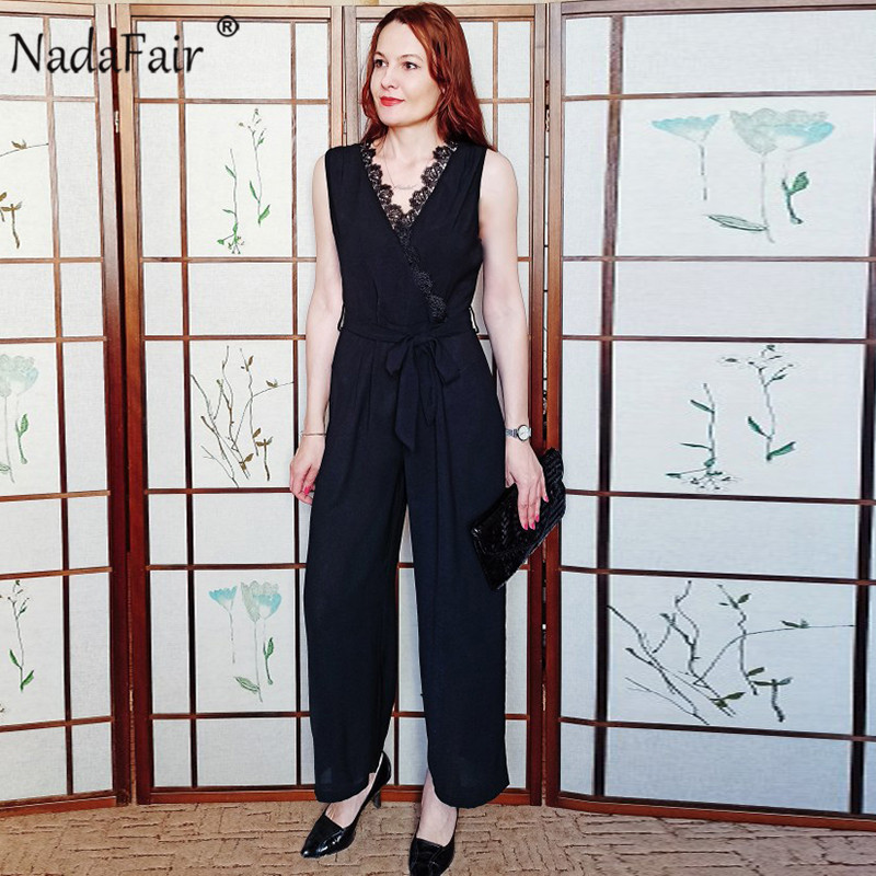 Nadafair Elegant Jumpsuit Women Casual Office Work Belt Tunic Black  Sexy Lace Summer Jumpsuit 2020 Overalls For Woman