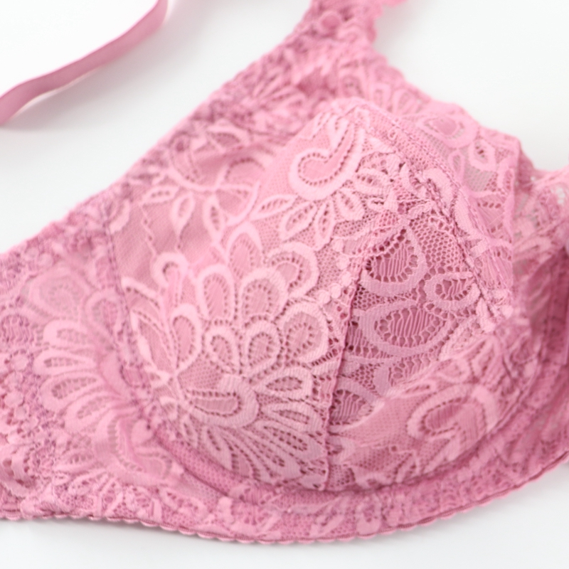 PairFairy Women's Ultra thin Bra Full Coverage Sexy Soft Underwire Lace Padded Brassiere Minimizer Bh Plus Size DD E DDD F Cup 3