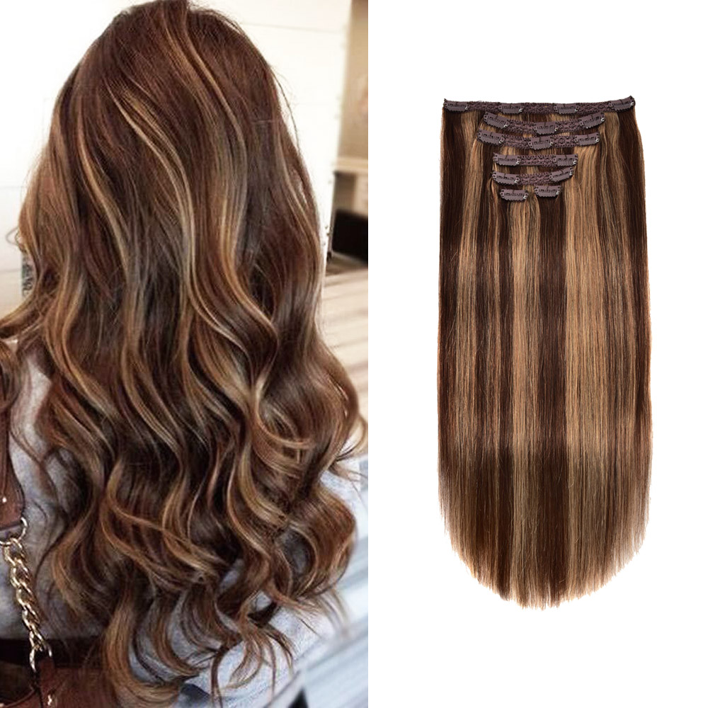 Gazfairy Straight Style Real Remy Hair Double Weft Full Head Clip In Human Hair Extension 18'' 70g 7Pcs/Set 16 Clips For Women