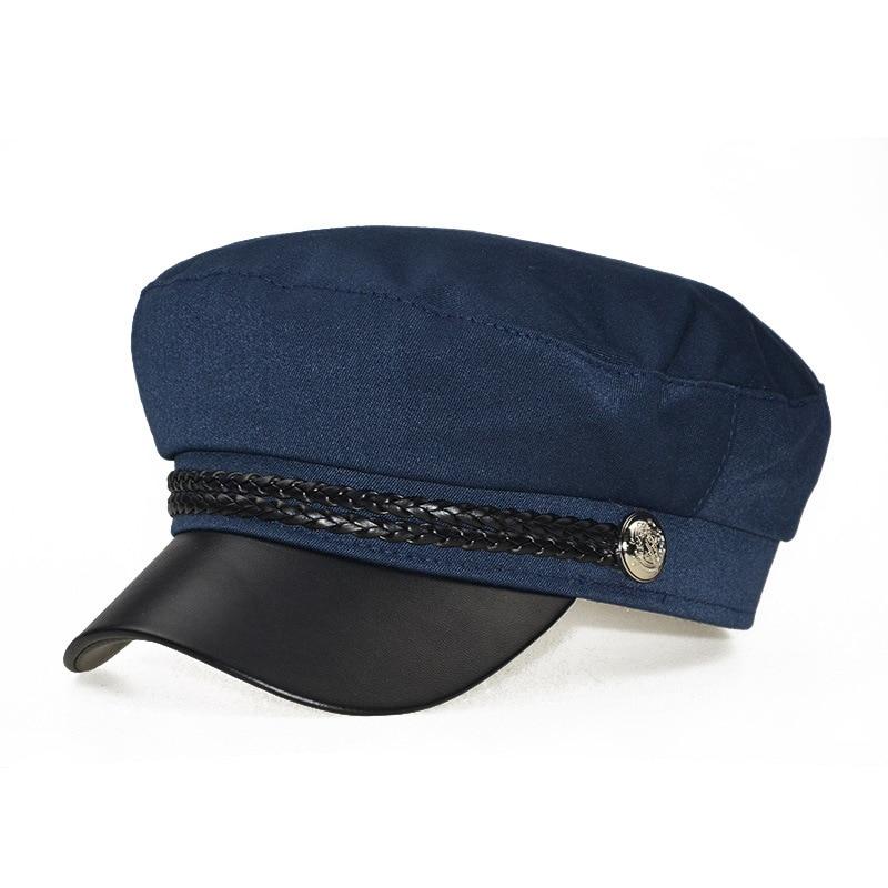 Зимняя женская Повседневная Военная шляпа винтажная мягкая хлопковая шерстяная плоский берет восьмиугольная кепка Модная элегантная женская шапка высокого качества - Цвет: navy blue