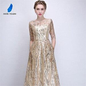 Image 2 - DEERVEADO Robe De Soiree Half Sleeves Long Evening Dresses with Belt Sequins Formal Dress Women Occasion Party Dresses YS449