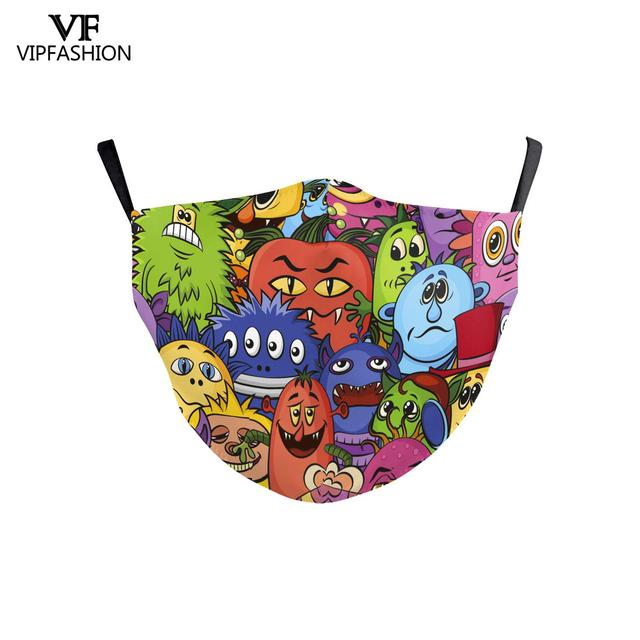VIP FASHION Reusable Washable Fabric Children Mouth Mask Cute Cartoon Print Face Kid Mask For 3-10 Years old Adjustable 5