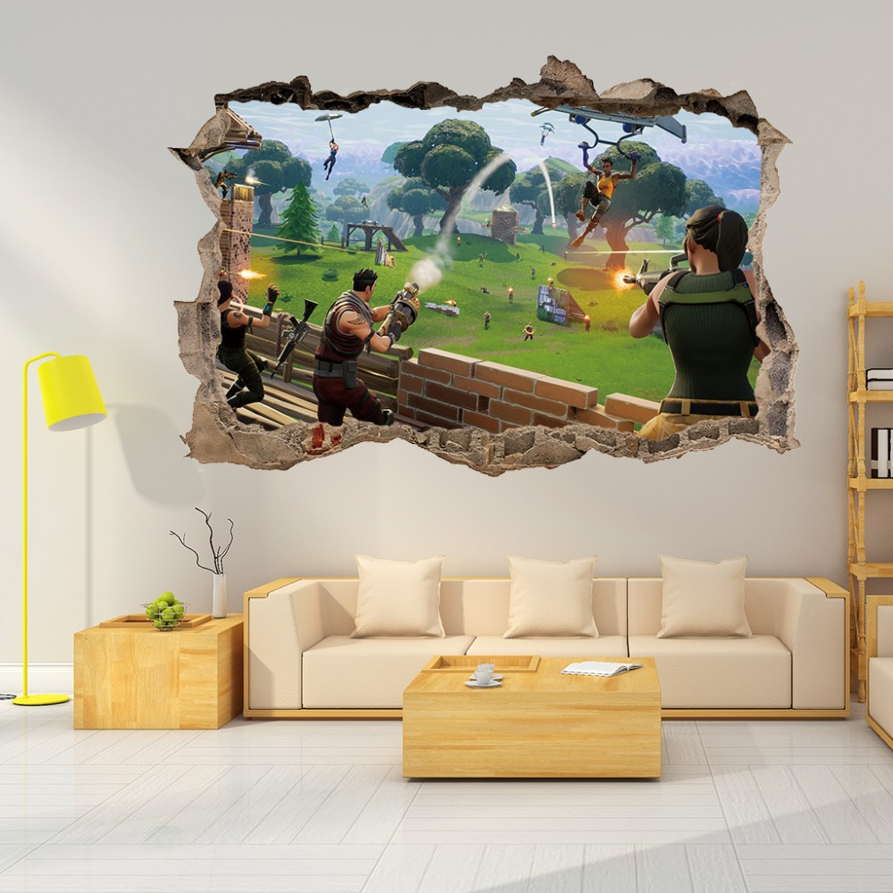 3d Cartoon Home Decor Battle Game Wall Stickers For Kids Room Removable Baby Bedroom Wall Decals Aliexpress
